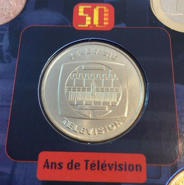 2003 Belgium 8 coins Medal Euro Set Special Edition TV - 50 Years of Television