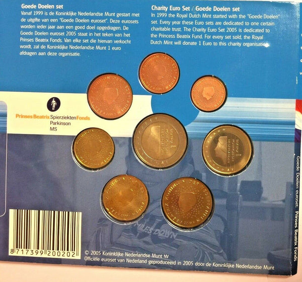 2005 Netherlands 8 Euro Coins Set Princess Beatrix Fund Special Edition Holland