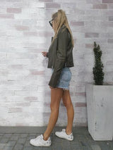 Devonie Leather Jacket  Olive