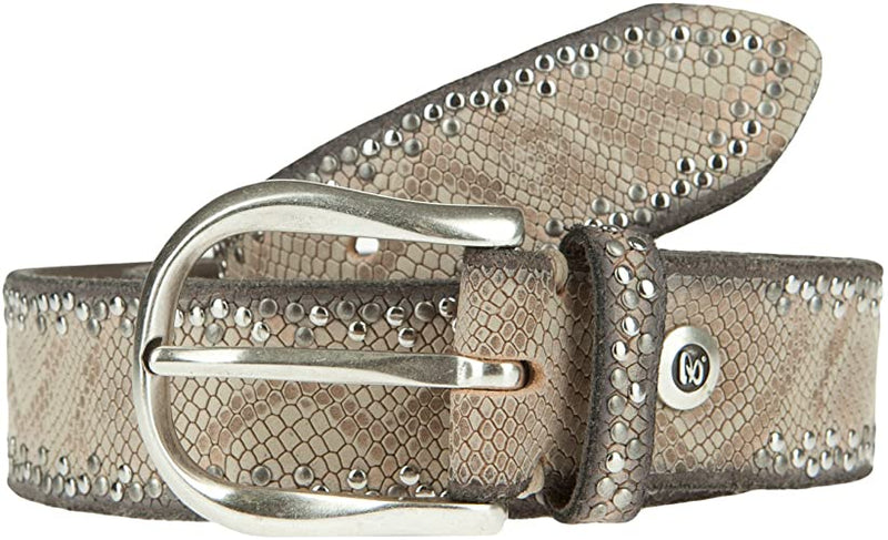 Snake Print Leather Belt Beige