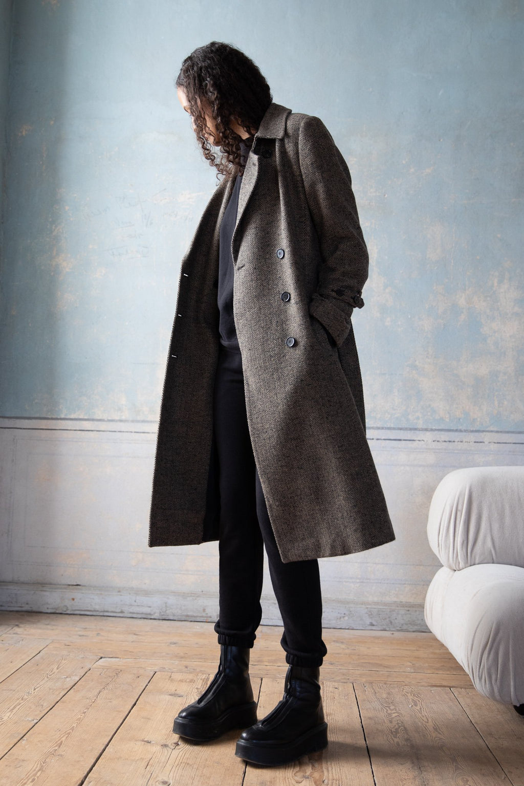 Wool Trench Coat Camel/Black