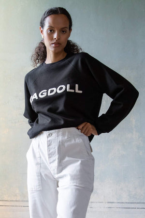 Sweatshirt with Terry Patch Black