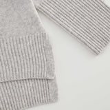 Cashmere Blend Chunky Polo Neck Sweater Frost Ice