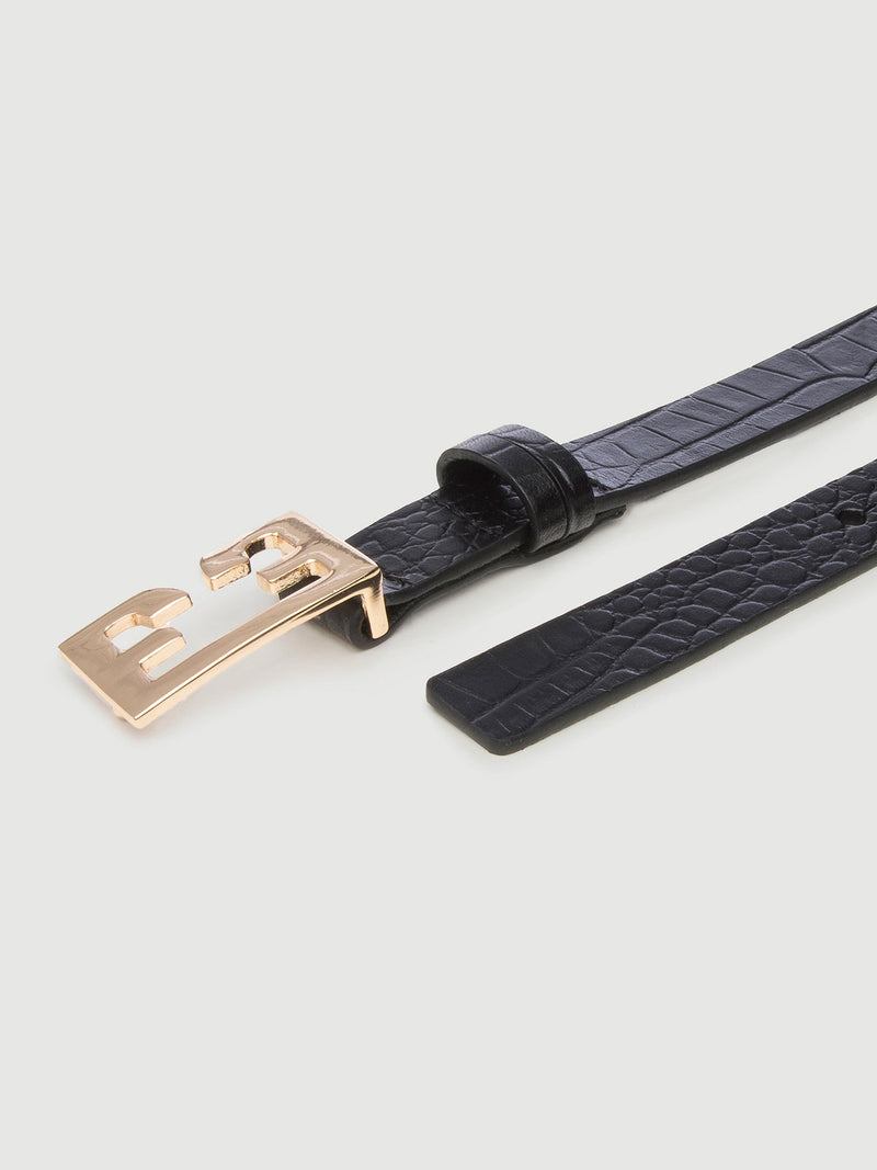 Le Double F Belt Noir Croco