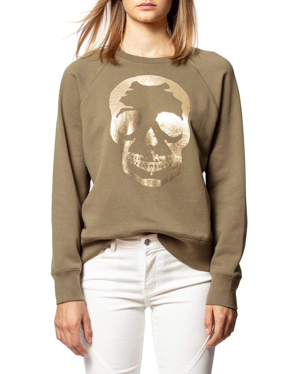 Upper Skull Gold Sweatshirt Khaki