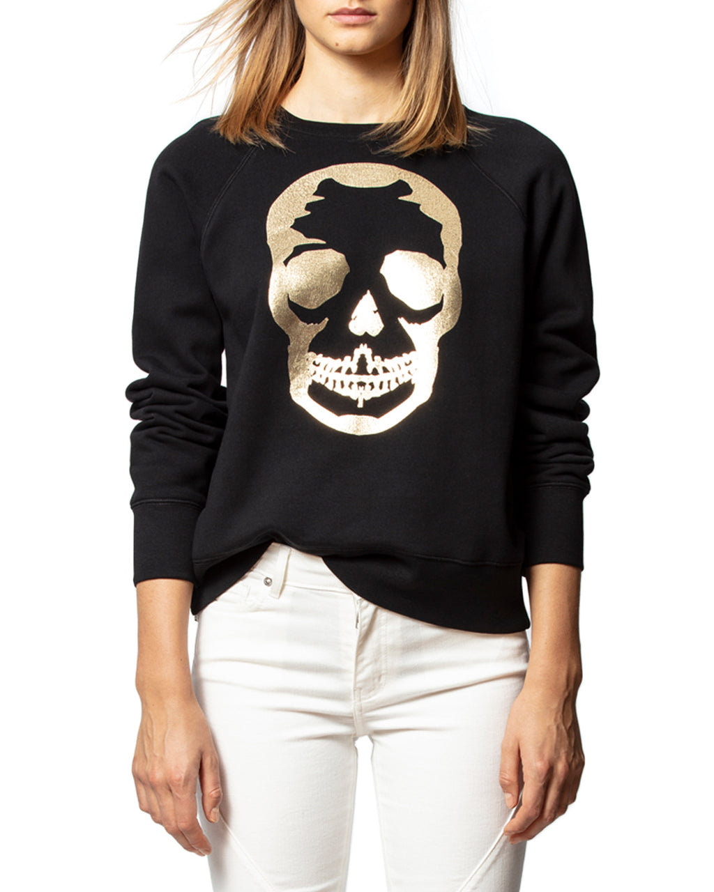 Upper Skull Gold Sweatshirt Noir