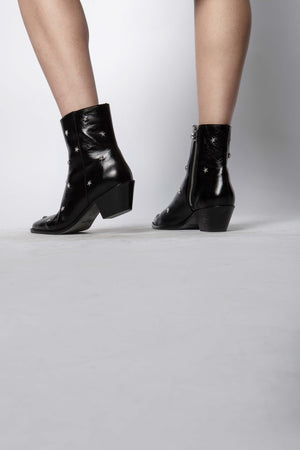 Tyler Vintage Studded Leather Ankle Boots Black