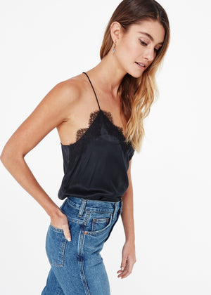 The Racer Charmeuse Cami Black