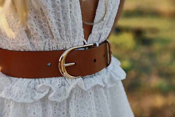 The Nika Belt Tan Light Gold