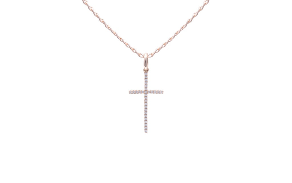 Saint Diamond Cross Necklace White Gold