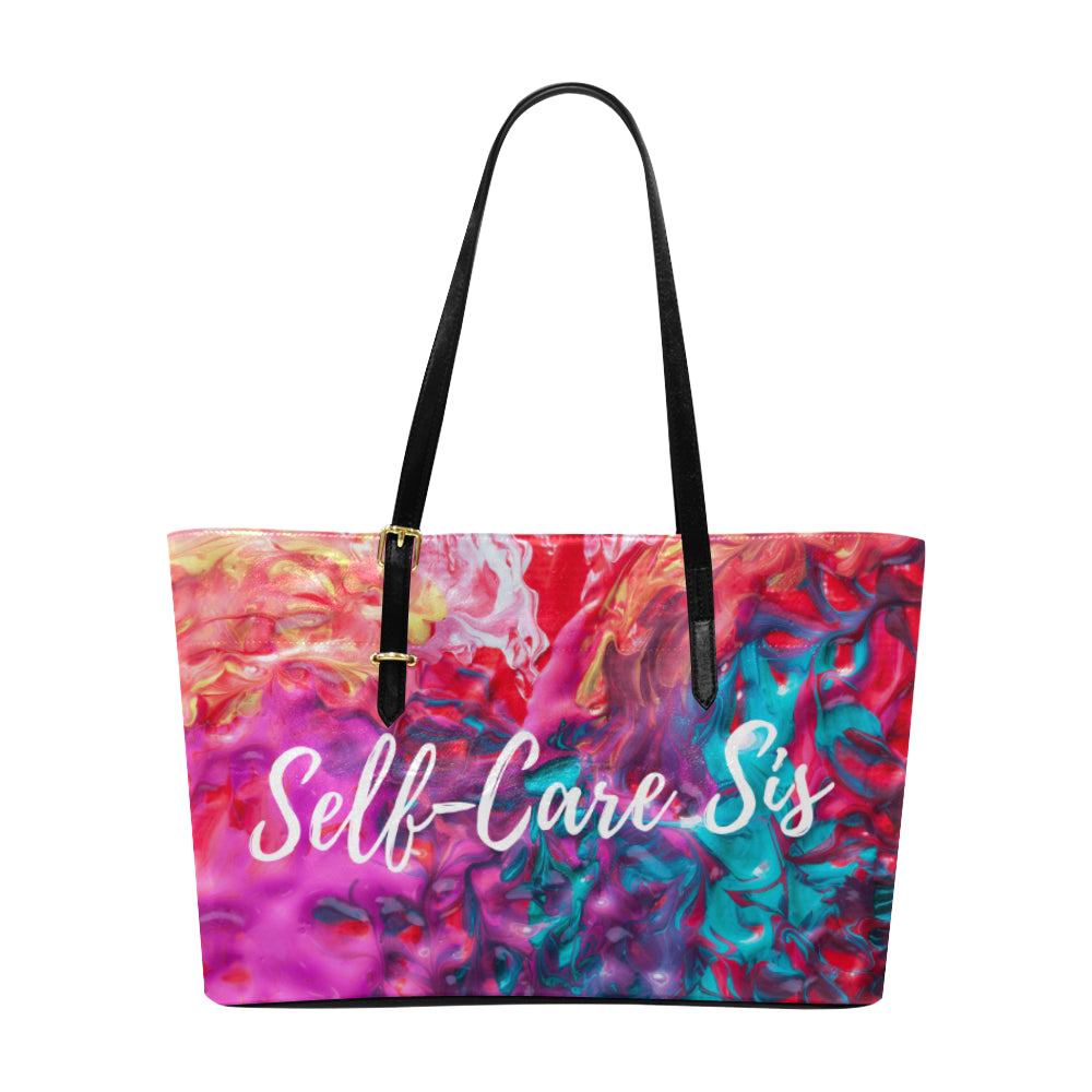 Self-Care Sis Leather Large Euramerican Tote Bag