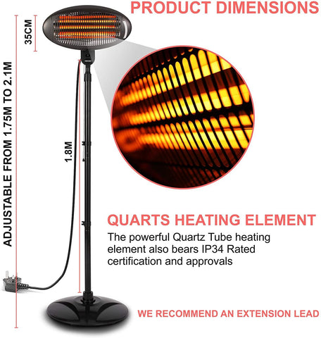 2KW Outdoor Free Standing Quartz Electric Garden Patio Heater 2000w Waterproof , 3 Power Settings , Adjustable Heat Angle and Height Adjustable Stand (Black) - Packed Direct UK