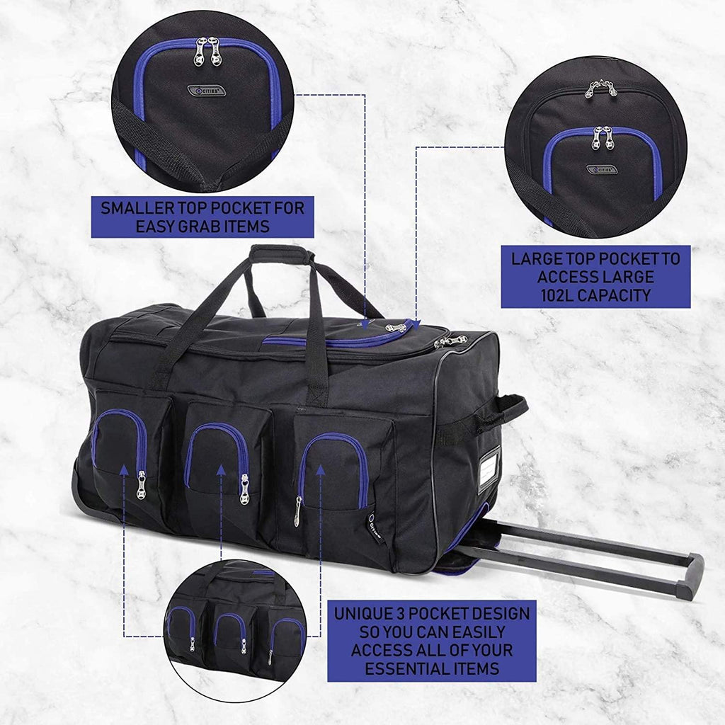 Large Lightweight Wheeled Duffle Holdall Travel Bag Sports Bag - 2 Year Warranty (Black/Blue, 30 Inch) - Packed Direct UK