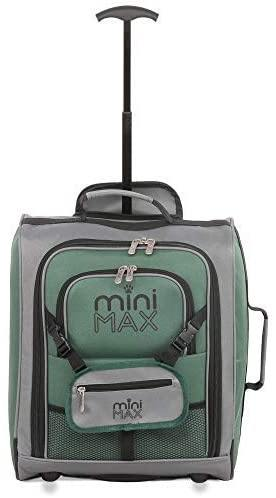 MiniMax Childrens/Kids Luggage Carry On Trolley Suitcase with Backpack and Pouch for Your Favourite Doll/Action Figure/Bear (Blue + Pink + Green) - Packed Direct UK