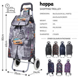 Hoppa 47L Lightweight Shopping Trolley, Hard Wearing & Foldaway for Easy Storage with 3 Years Guarantee (Cities) - Packed Direct UK