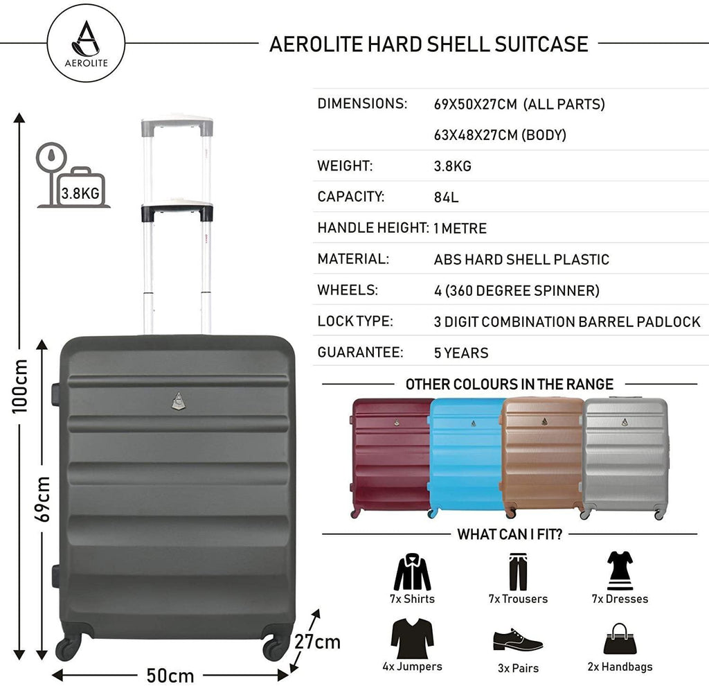 "Aerolite 25"" Lightweight ABS Hard Shell Check in Luggage Suitcase + Ryanair Max Size 40x20x25cm Hand Cabin Shoulder Flight Bag Charcoal + Charcoal - Packed Direct UK"