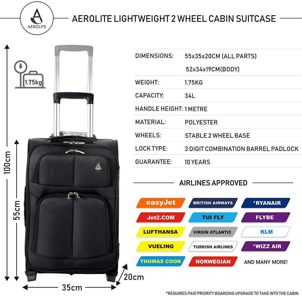 Aerolite 55x35x20 Super Lightweight 2 Wheel 34L Upright Carry On Hand Cabin Luggage Suitcase - Approved for Ryanair, easyJet, British Airways, Virgin Atlantic, Flybe and Many More (Black) - Packed Direct UK
