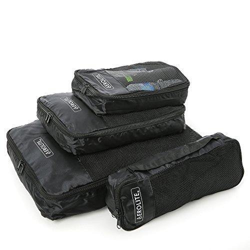 Aerolite Luggage Packing Cubes Travel Organiser 4 Piece Set - Packed Direct UK
