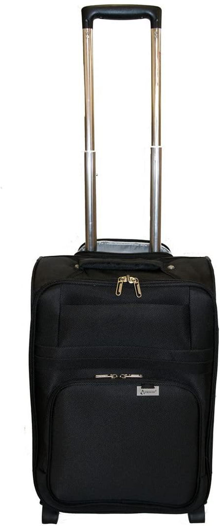Aerolite Ultra Lightweight 2 Wheel Travel Trolley Carry On Hand Cabin Luggage Suitcase, Approved for Ryanair, easyJet, British Airways, Flybe, Wizz Air and Many More, Black - Packed Direct UK