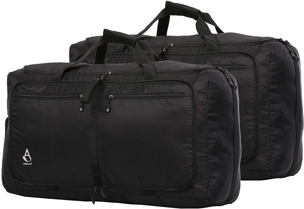 Aerolite Ultra Lightweight Foldable Holdall Shoulder Bag Flight Sports Kit Bag Black, Set of 2 - Packed Direct UK