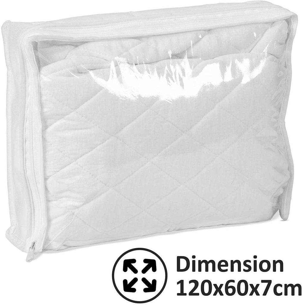 Baby Joy 100% Cotton Waterproof Cot Bed Fitted Sheets 1x Quilted and 1x Plain Jersey Sheet, White, 120x60cm (Large) - Packed Direct UK