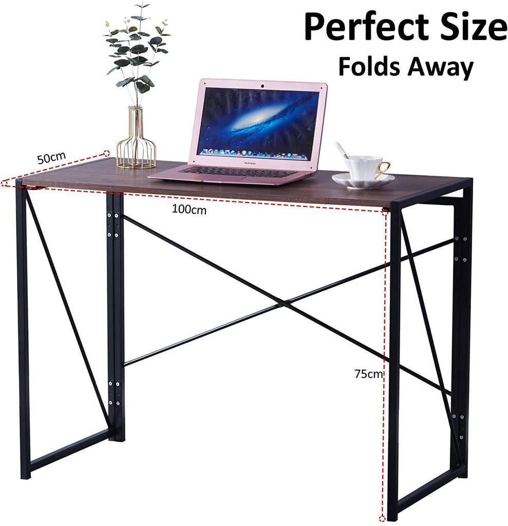 Folding Computer Desk Table, Compact Foldable Home Office Computer PC Laptop Workstation Desk Table for Home Office, Wood & Metal, Brown Black - Packed Direct UK