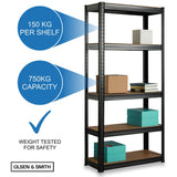 Heavy Duty 5 Tier Steel & Wood Garage Shelving Unit 150cm x 70cm x 30cm Racking Utility Shelves Units For Storage For Home Workshop Shed Office Black - Packed Direct UK