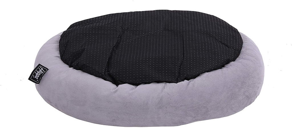 Hoppa (Circular 60cm) Soft Faux Suede Plush Round Dog Bed - Grey - Packed Direct UK