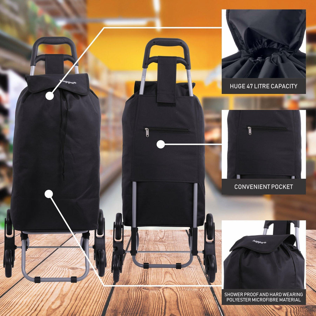Hoppa Lightweight 6-Wheel Folding Shopping Trolley Large 47L Capacity Shopping Trolley Bag, 95cm, 2kg, Push/Pull Stairclimber (Black) - Packed Direct UK