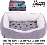 Hoppa Plush Soft Rectangular 61x48x16cm Faux Suede Non Slip Dog Bed with Blanket Machine Washable Small Grey - Packed Direct UK