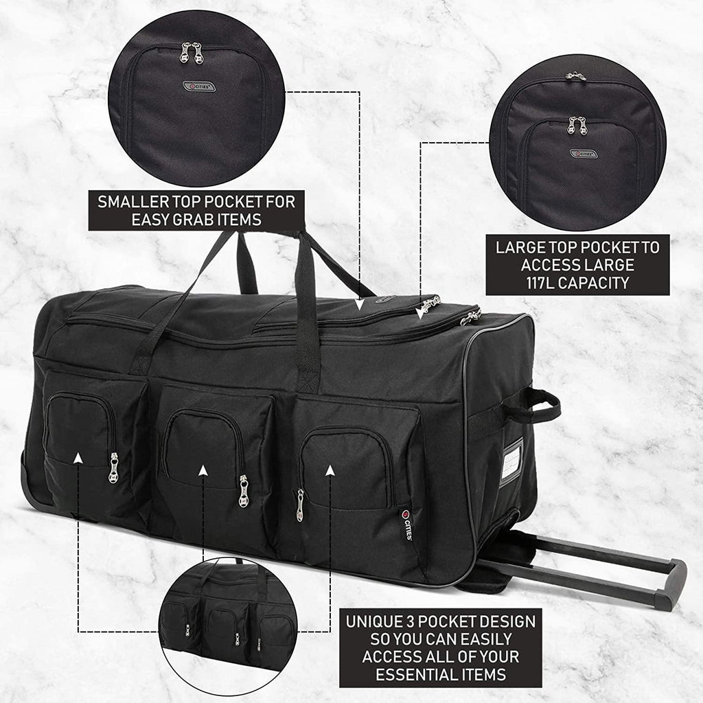 .Large Lightweight Wheeled Duffle Holdall Travel Bag Sports Bag - 2 Year Warranty (34 Inch, Black/Black) - Packed Direct UK