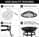 Large Steel Metal Fire Pit for Outdoor Garden Patio Heater Grill Camping Bowl BBQ with Grate Lid & Poker , Wood & Coal Burning , Large Black - Packed Direct UK