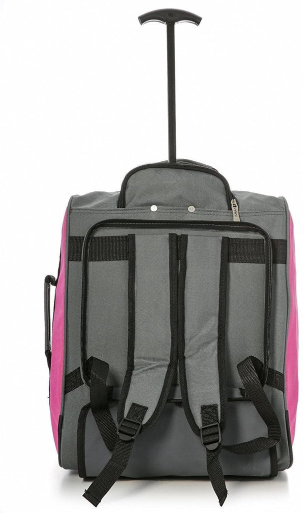MiniMAX Childrens/Kids Luggage Carry On Trolley Suitcase with Backpack and Pouch for Your Favourite Doll/Action Figure/Bear (Pink + Teddy/Blue + Teddy) - Packed Direct UK