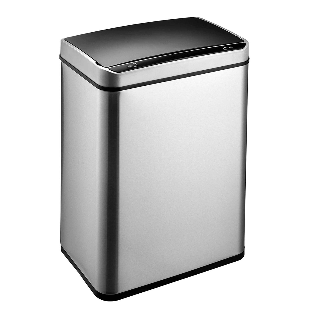 Motion Sensor Waste Bin, Rectangular Touchless Motion Sensor Sensing Touch Free Stainless Steel Kitchen Waste Rubbish Bin Large 60L with Divider for Recycling and Waste Silver - Packed Direct UK