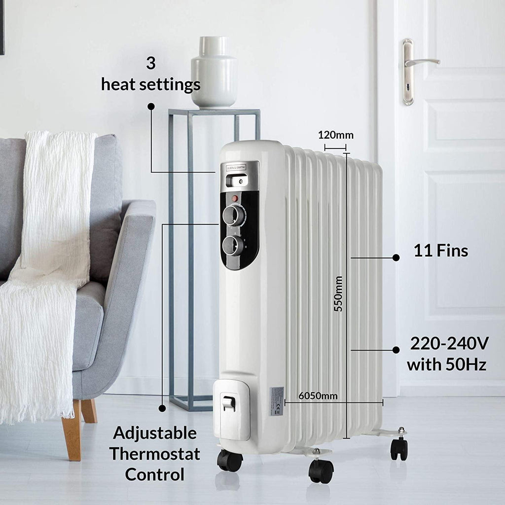 Olsen & Smith 2.5Kw 2500W 11 Fin Portable Electric Slim Oil Filled Radiator Heater with Wheels & Adjustable Temperature Thermostat, White - Packed Direct UK