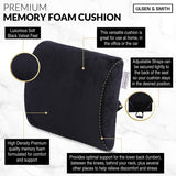 Olsen & Smith Ergonomic Memory Foam Lumbar Support Back Rest Pillow Cushion for Home Work Office Chair Car Lorry Seat Upper & Lower Back Neck Pain Relief Black - Packed Direct UK