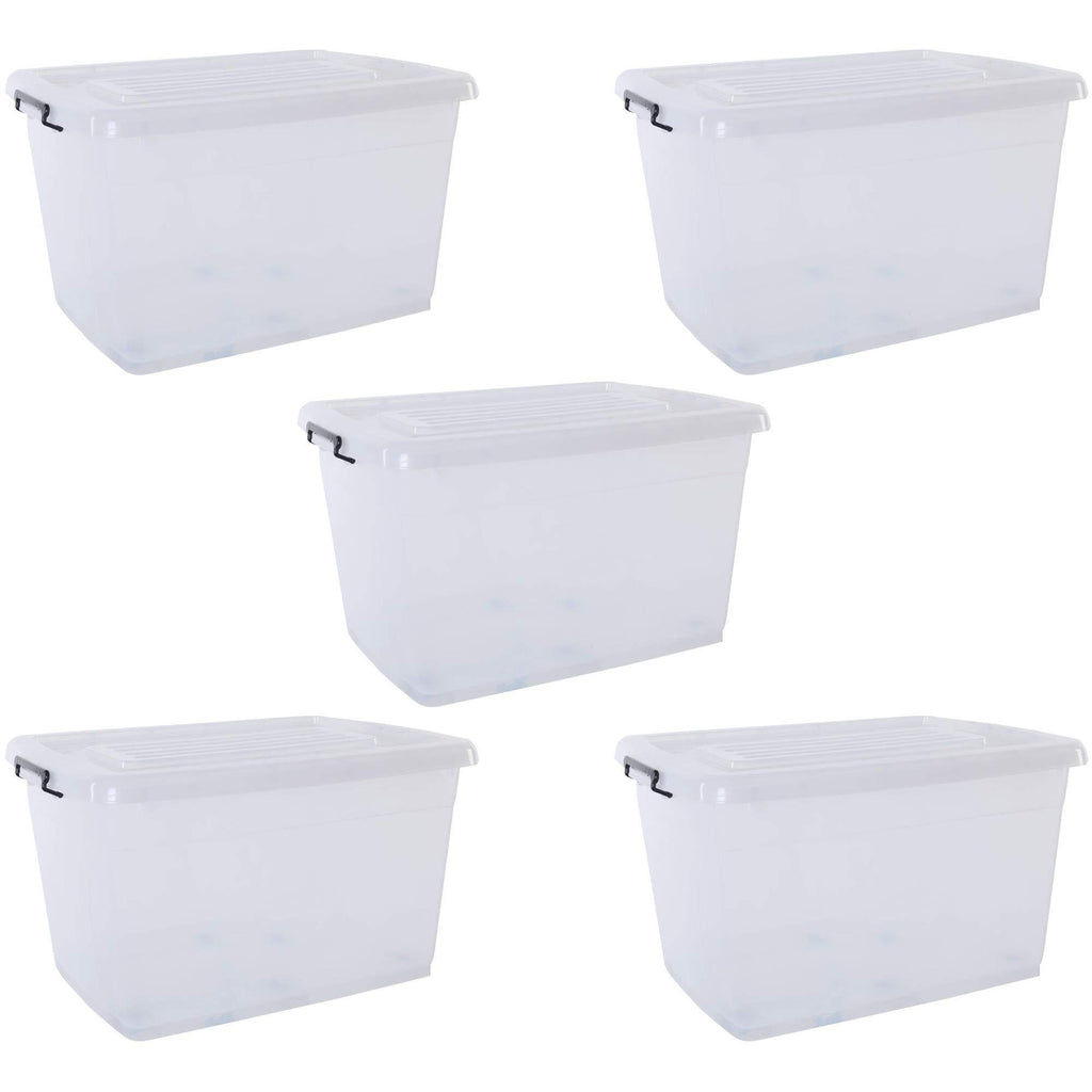 Olsen & Smith Set of 4 Clear 33L Plastic Storage Container Boxes Tubs with Lid , Clip Locked Stackable and Nestable BPA Free , Small , 51 x 39 x 25cm - Packed Direct UK