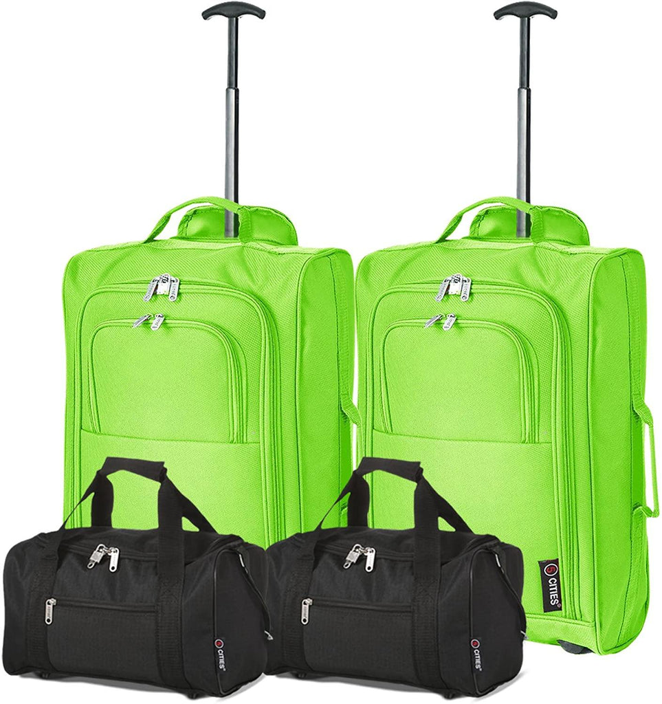 Set of 4 Hand Luggage Set Including 2X Ryanair Cabin Approved 55x40x20cm Trolley Bags & 2X Second 35x20x20 Holdall Bags - Carry On Both Items with Priority Boarding! (Green/Black) - Packed Direct UK