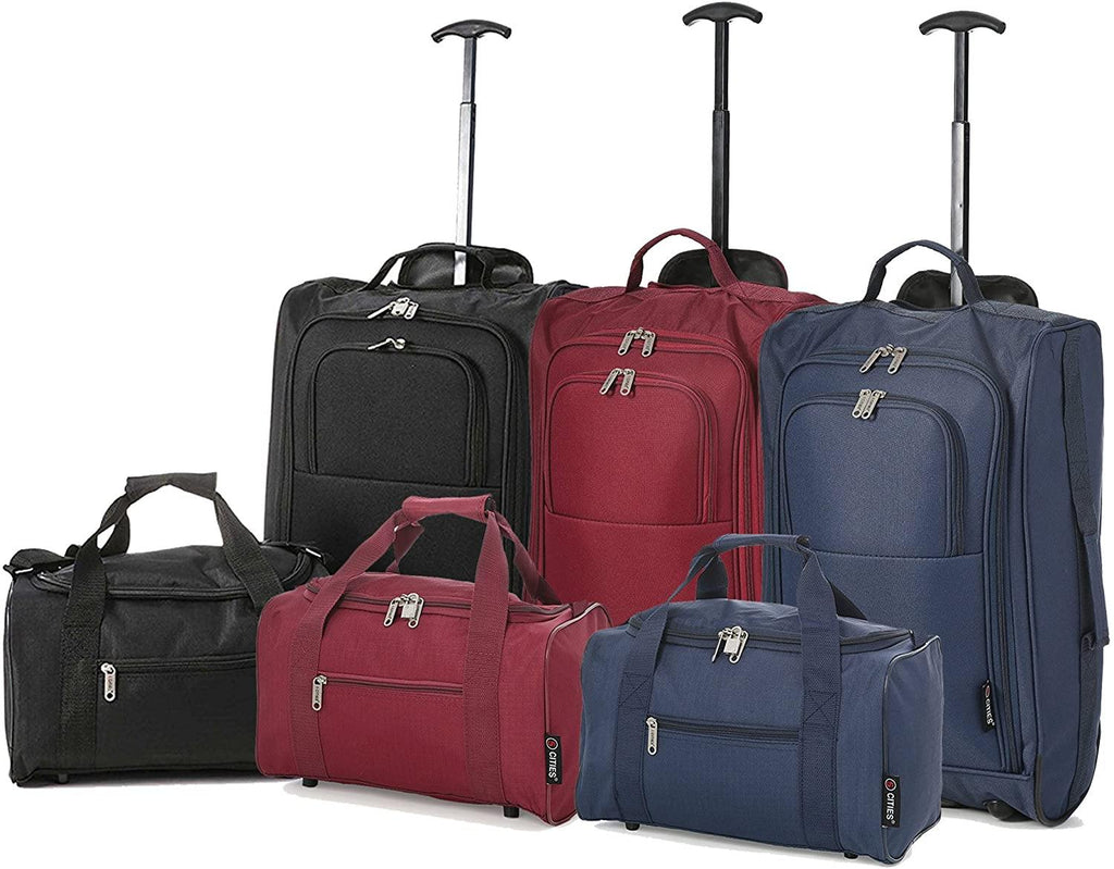 Set of 6 - Ryanair Cabin Approved 35x20x20 & Second 55x40x20 Trolley Bag Luggage Set - Carry Both - Packed Direct UK