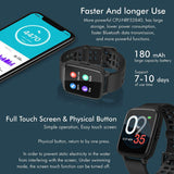 Smart Activity Fitness Sports Tracker Watch for Men & Women Android iOS with Built In Heart Rate Monitor Sleep Tracker IP68 Waterproof , Black/Green - Packed Direct UK