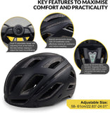 SPORT24 Lightweight Bike Cycle Helmet Road Bike Cycling Safety Helmet for Men Women (Fits Head Sizes 58-61cm) Black White - Packed Direct UK