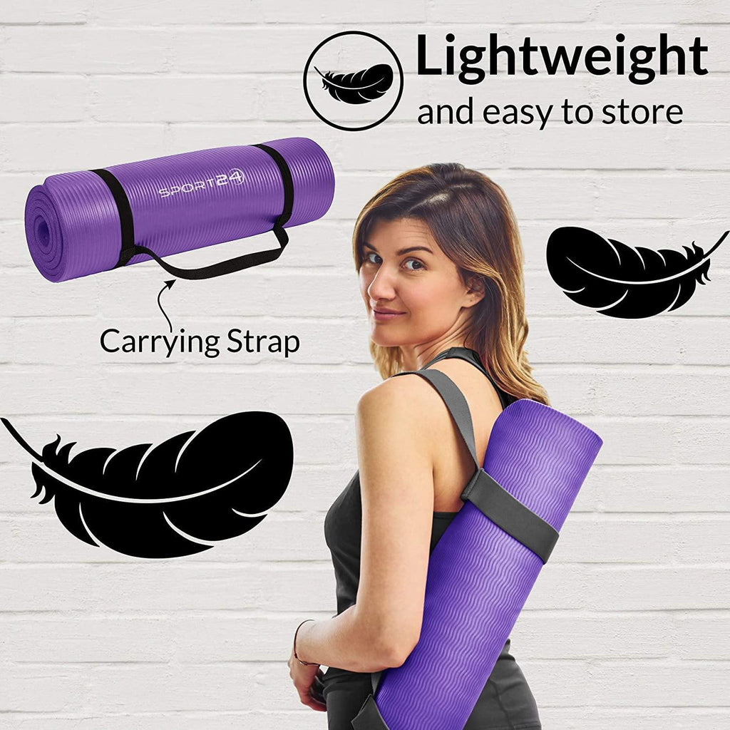 Sport24 Yoga Mat NBR Non-slip Multipurpose- Pilates, Ab workouts, Stretching, Push ups, Gymnastics- 183cm X 62cm X 1cm with Carry Strap- Men/Women - Packed Direct UK
