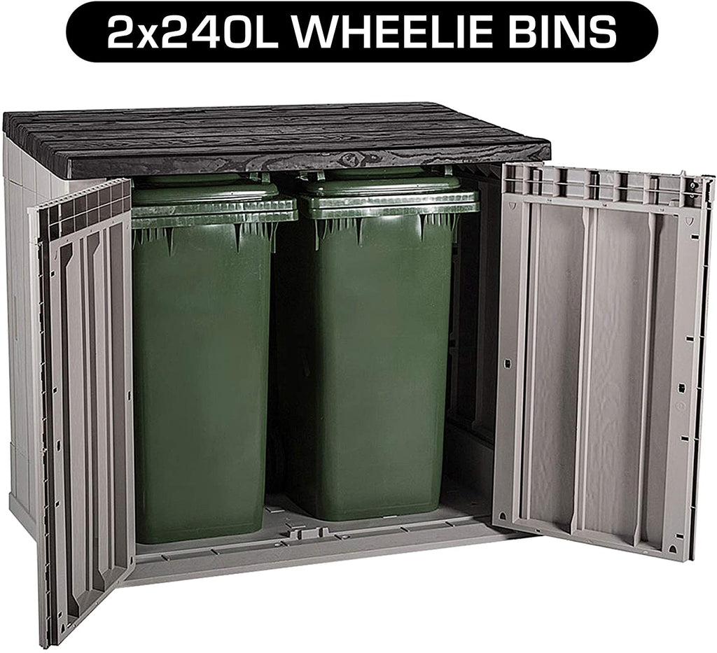 TOOMAX Storaway 1270L Outdoor Garden Plastic Storage Shed Box - Grey/Black(Black LID) - 145 x 82 x 124.5 cm - Packed Direct UK