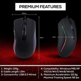 XTREME RGB Backlit USB Wired Optical Gaming Mouse for PC Computer Gaming - 7 Programmable Buttons - 6400 DPI Adjustable - Ergonomic Grip - Black - Packed Direct UK