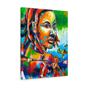 Black Women Gulisi freedom fighter- Wall art Print on Canvas-Ready to hang Painting, Tropical  Art Print Home & Wall Decor