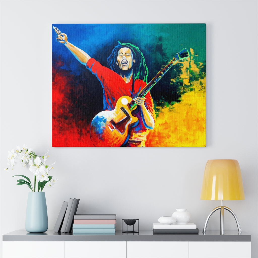 Bob Marley - The Legend- Wall art Print on Canvas-Ready to hang Painting, Tropical  Art Print Home & Wall Decor