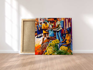Friday Hustle - Wall art Print on Canvas-Ready to hang Painting, Tropical  Art Print Home & Wall Decor
