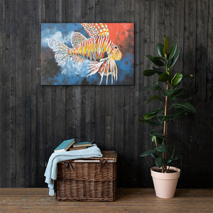 "Print on Canvas- ""Invasive- Lion Fish""Ready to hang Wall Art, Tropical  Art Print Wall Decor"