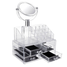Load image into Gallery viewer, MILANO ACRYLIC MAKEUP ORGANIZER WITH MIRROR