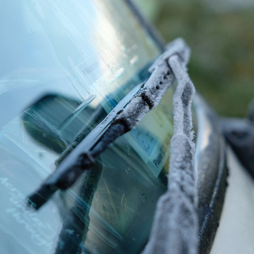 winter windscreen with frost